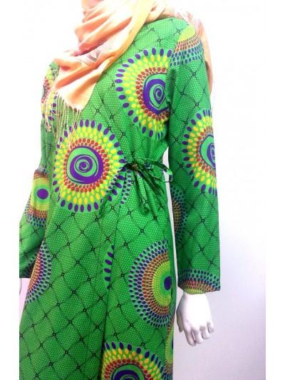 Yeşil Yuvarlak Puanlı Namaz Elbisesi