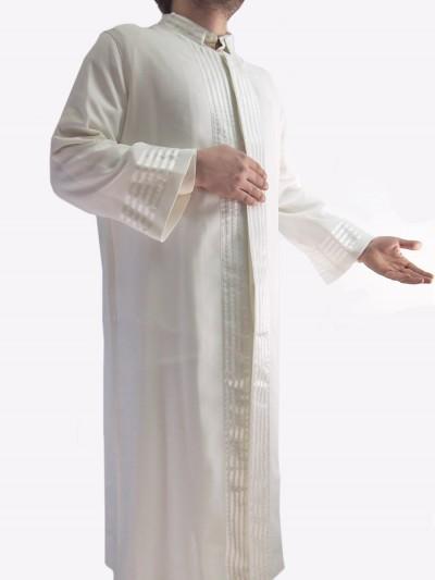 İmam Cübbesi Edirne - Beyaz Saten Şeritli