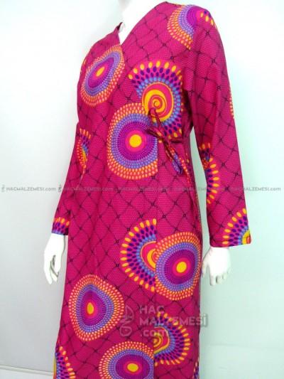 Pembe Yuvarlak Puanlı Namaz Elbisesi