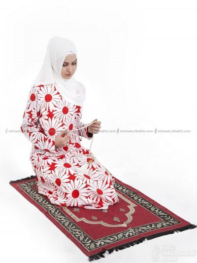 Kırmızı Papatya Namaz Elbisesi